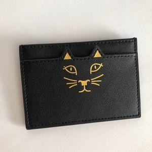 Feline Black Faux Leather Card Holder cat paws